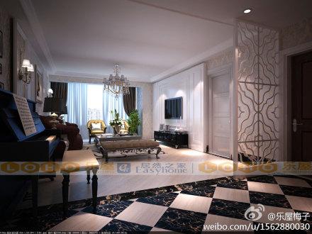 电视背景墙的造型与天花板的造型非常统一_电视背景 ...
