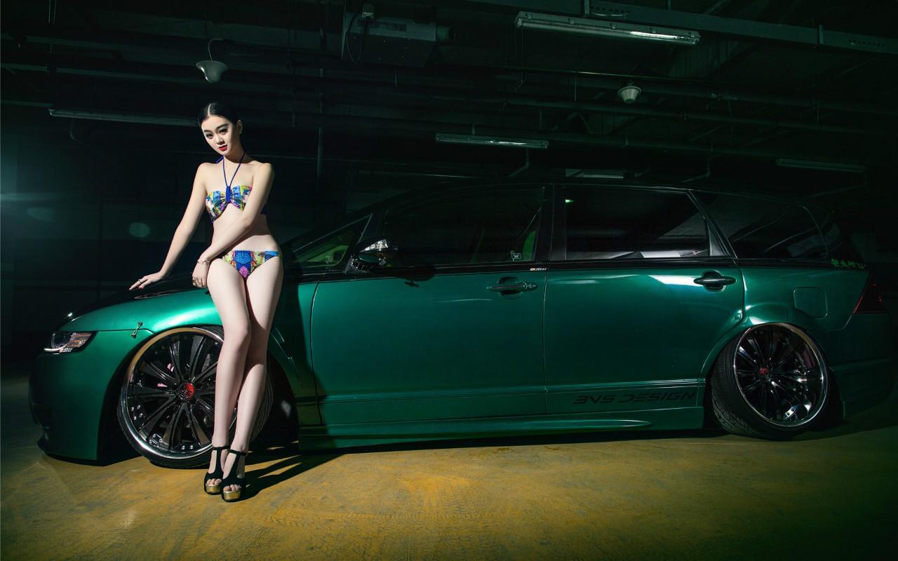 奥德赛长腿美女车模性感比基尼写真电脑桌面壁纸高清