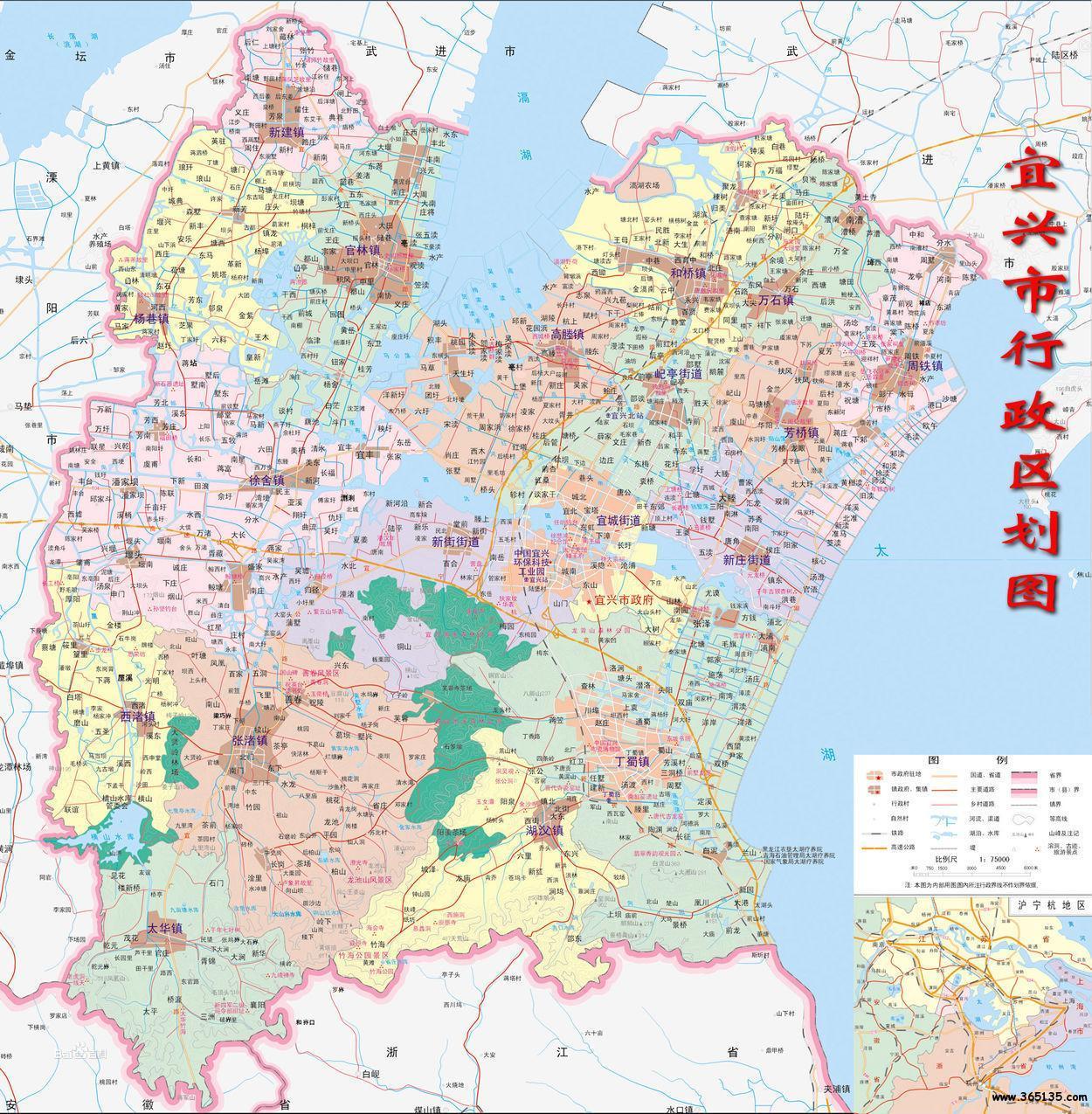 宜兴市行政区划图