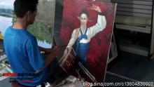 """金在哲在""""朝鲜画家中国创作基地""""创作中"""