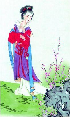 花卉绘画美女图片