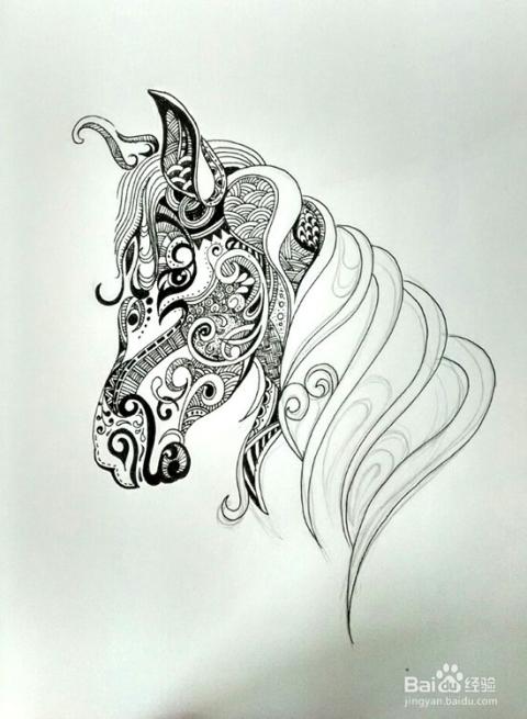 深入刻画创作马头图案,可以边充分发挥你的想象力.图片