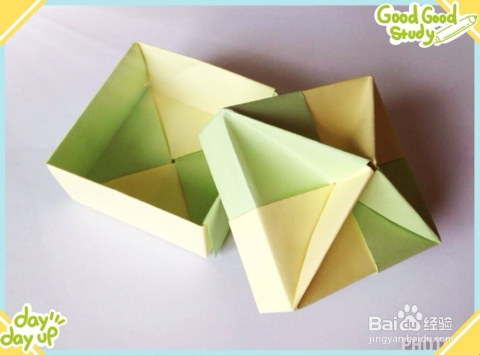 手工折纸制作:[16]礼品盒(四角沙漏盒)图片