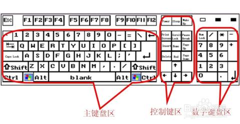 第二,左侧大区域叫主键盘区,也叫字母键区,中部叫控制键区,右侧叫数字图片
