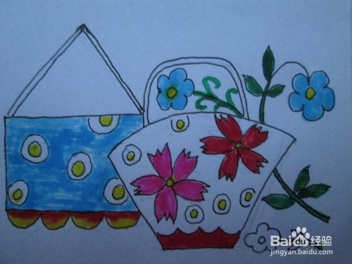 幼儿水彩笔画 妈妈的花包 作画步骤