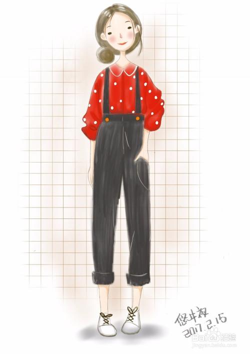 悠井夜学绘画|8.小清新女孩|过程图图片