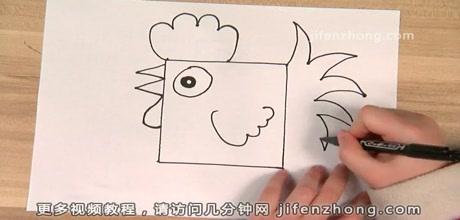 正方形简笔画之公鸡