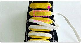 从右面孔穿进去 2 按照虚线方向穿鞋带 3 调整鞋带,使其保持一字形,不图片