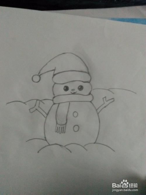 如何画简笔画小雪人