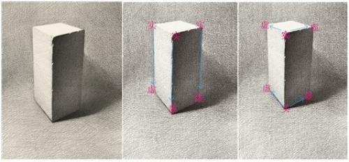 素描石膏几何形体画法 二 长方体的步骤图片