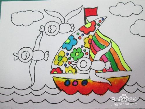 儿童水彩笔画《看谁快》的作画步骤图片