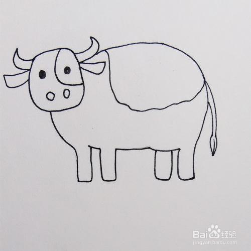 儿童简笔画教程之动物奶牛步骤图片
