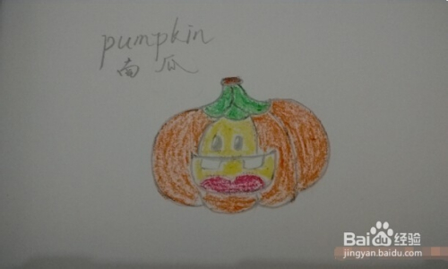 简笔画 万圣节笑脸南瓜 pumpkin 画法
