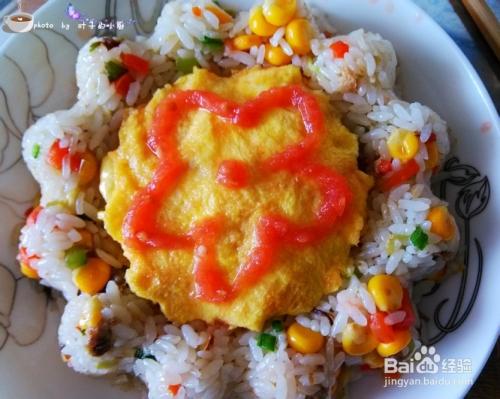 儿童创意菜谱---花朵炒饭图片