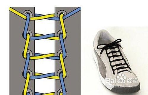 com  方法/步骤  1 1,将鞋带横向从倒数第二排孔,即第五排孔穿入,拉齐图片