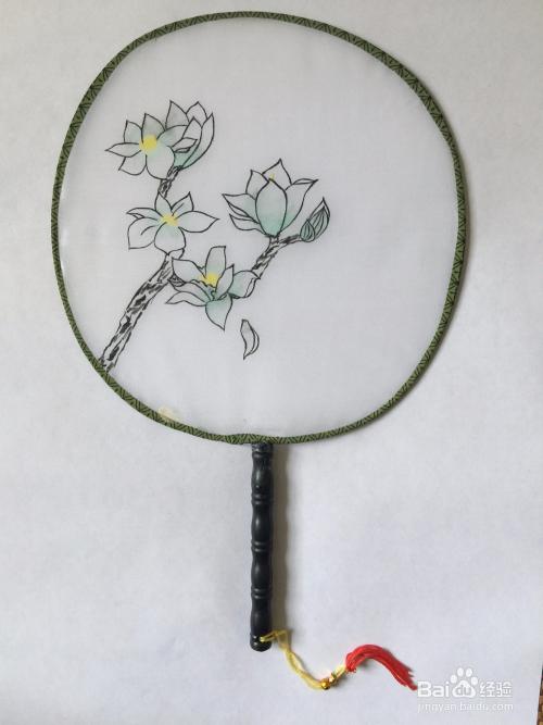 手绘圆形扇子 创意美术画