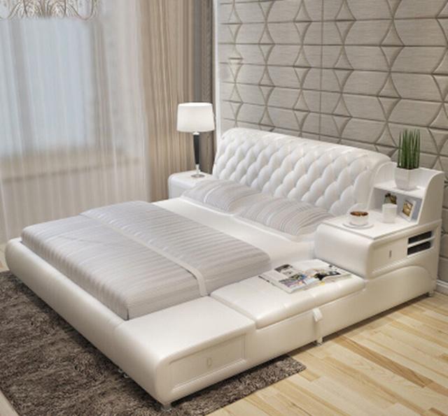 还傻傻睡老式木板床?现识货的都买真皮双人床,洋气实用更有面子图片