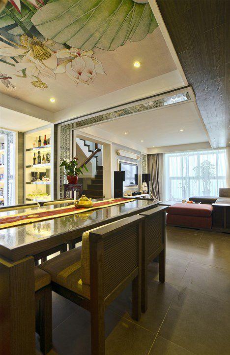 新中式绿色地面的书房效果图_装修之家装修效果图图片