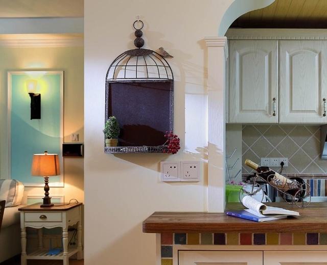 98平蓝色美式三居室,阳台上的墙花设计真是赞爆了!图片