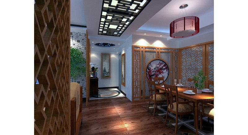 5-10万80平米中式二居室装修效果图,6万打造80㎡简约中式装修案例效果图片