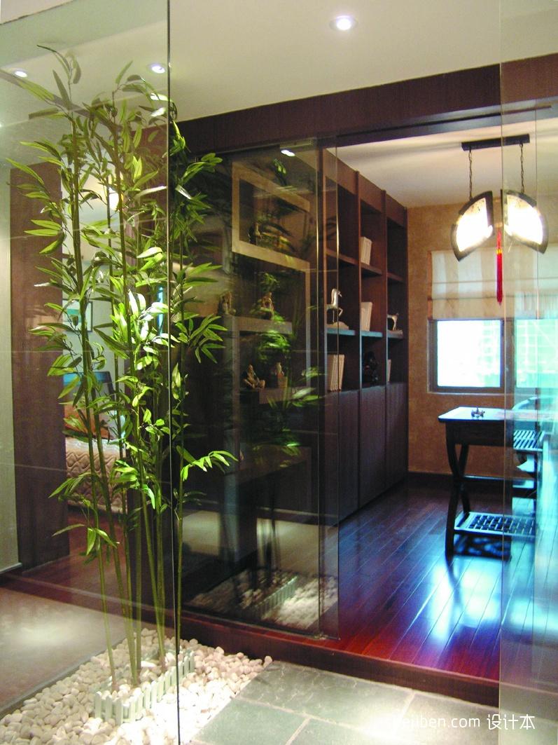 2013中式风格样板房家装豪华书房进门过道装修效果图欣赏 高清图片