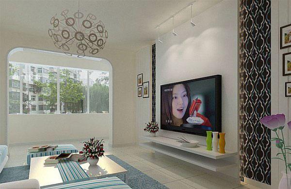田园风格电视背景墙装修效果图尽情展现客厅无限魅力图片