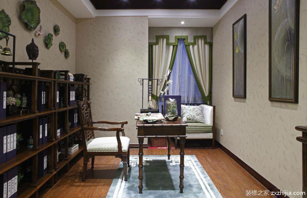 中式书房别致雅观设计欣赏_装修之家装修效果图图片