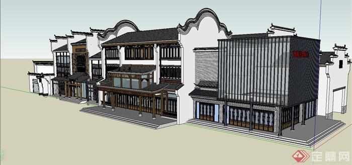 某现代中式风格徽派商业街建筑设计su模型[原创]图片