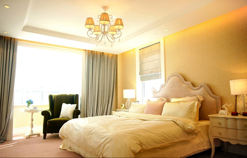 402平方米三室两厅美式风格家庭卫生间浴室柜灯具吊顶装修效果图图片