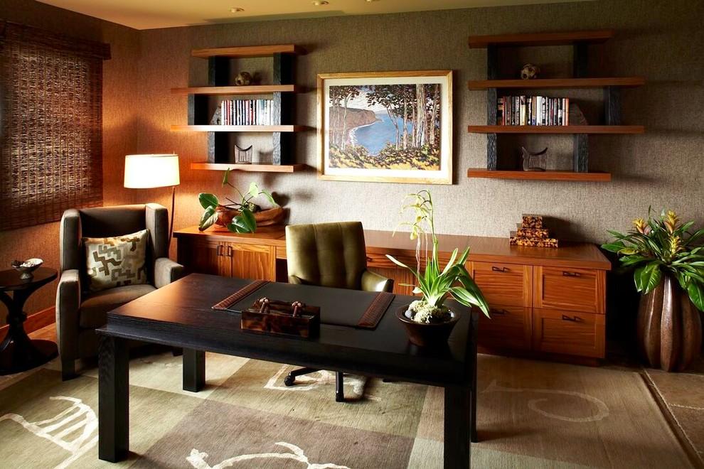 代风格三室一厅多功能书房书柜书架椅子书桌家具装修效果图 高清图片