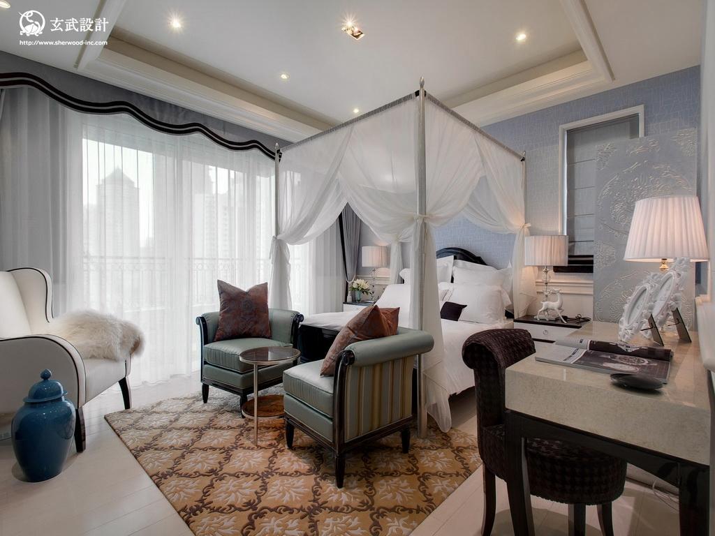 2013欧式风格别墅迷你落地窗大卧室吊顶装修效果图 高清图片