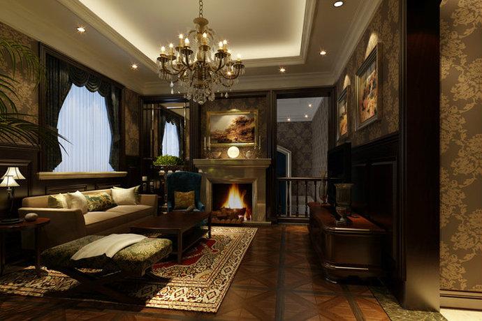 美式风格别墅客厅设计效果图_样板间案例_太平洋家居网高清图库图片