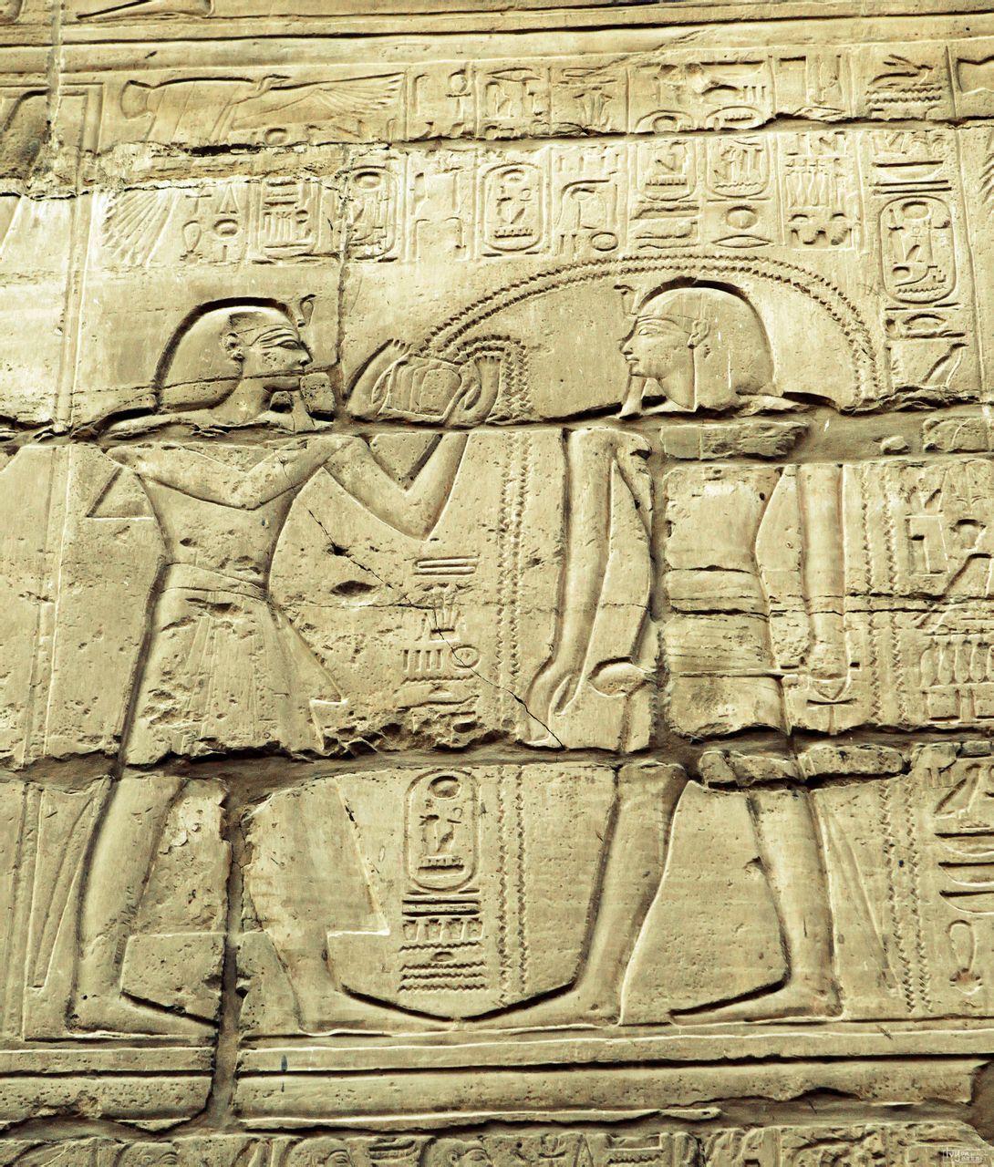 这幅描写的是仆人们抬着法老王和 后面有豹子尾巴.这是古埃及只有图片