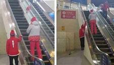 冬奥会运动员搞怪乘扶梯