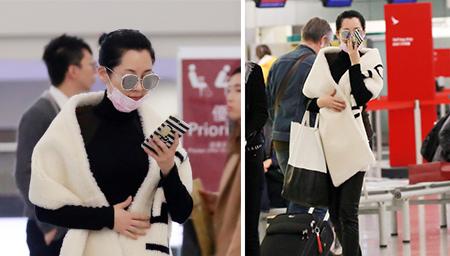许晴机场走黑白风好似熊猫 皮肤紧致如少女