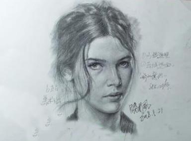 素描大咖画外国美女