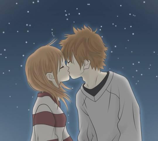 动漫情侣头像 激情热吻