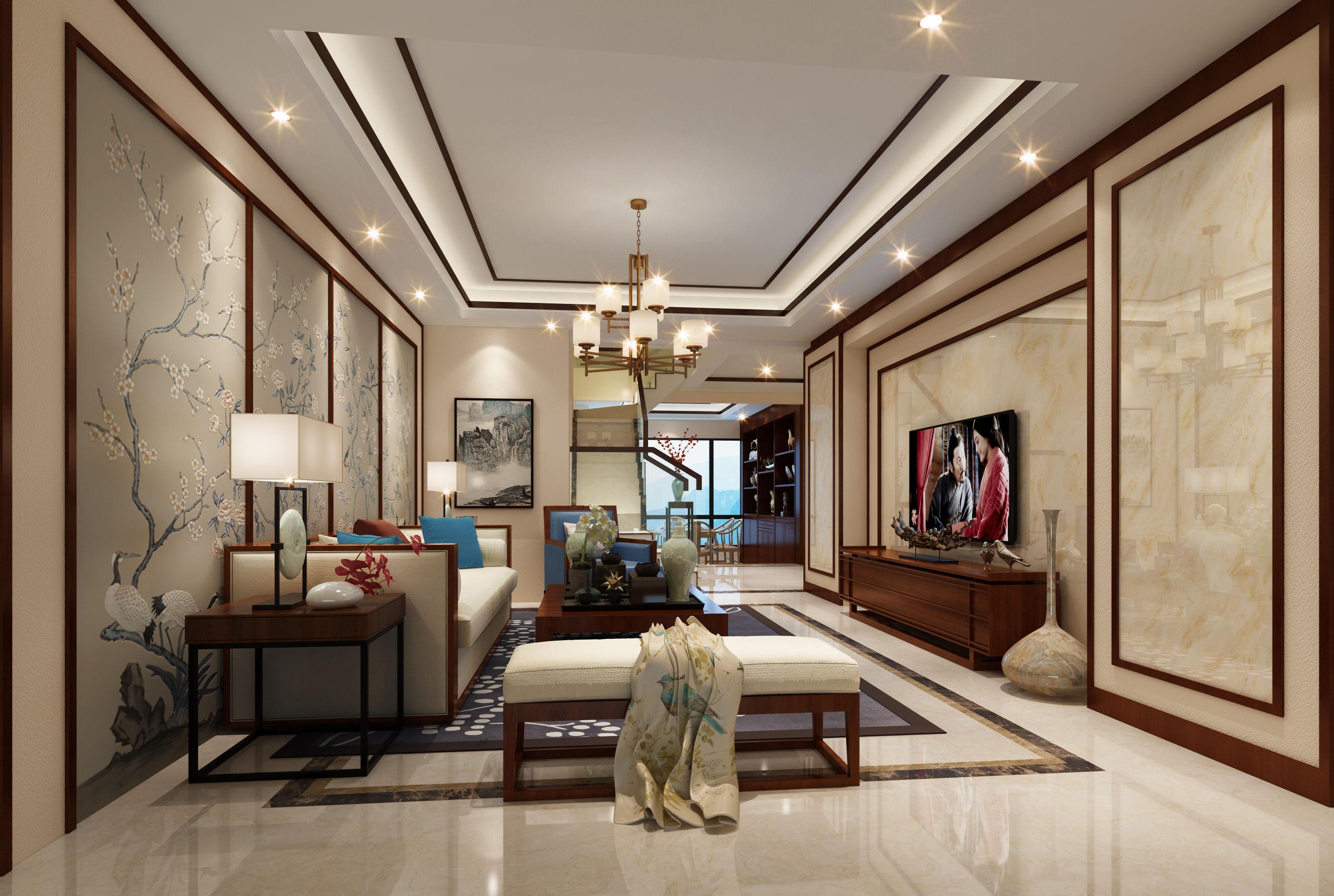 除了进客厅的大门,看不见其它的任何门,只能看见两个走道和一个楼梯门