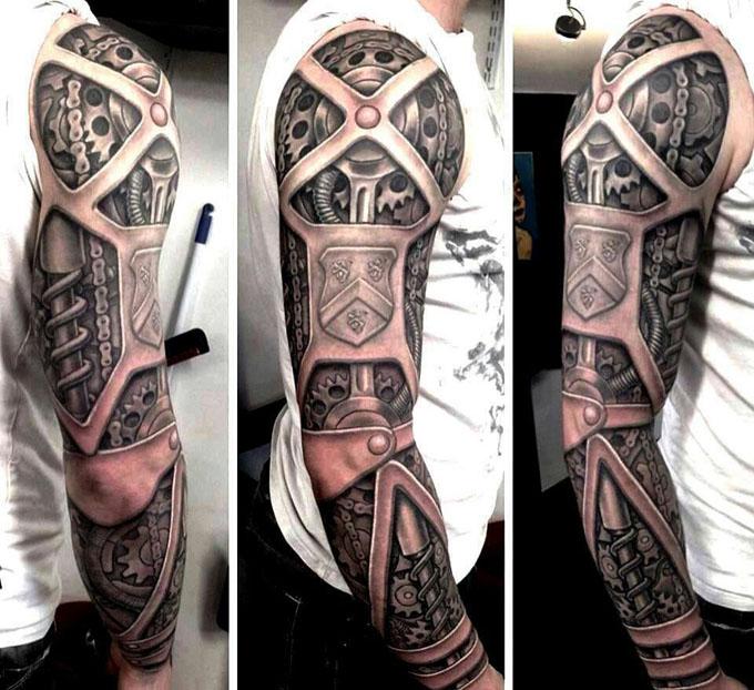想要好看的机械臂半甲 包整个手臂的纹身图案 最好是有几个面的,或者图片