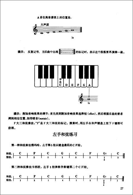 电子琴入门教程的图书目录图片