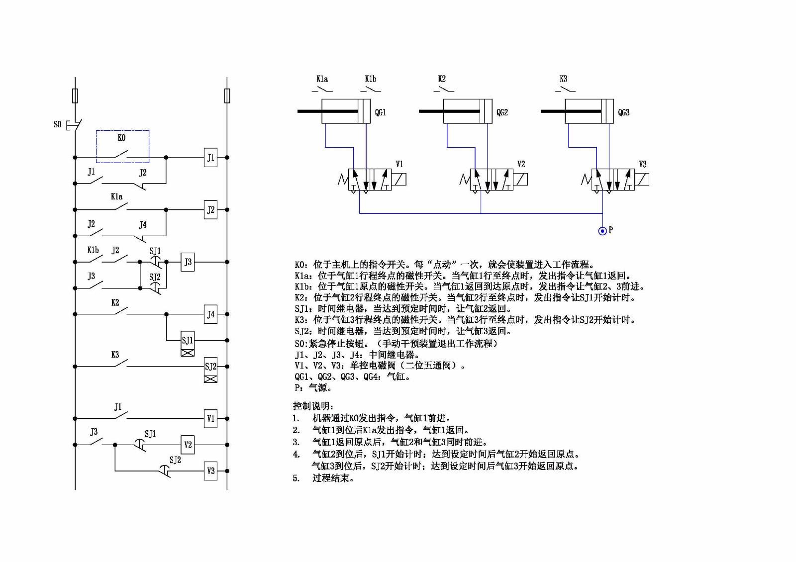 求接线图3个气缸3个电磁阀时间,中间继电器,给一个信号气缸1动作后图片
