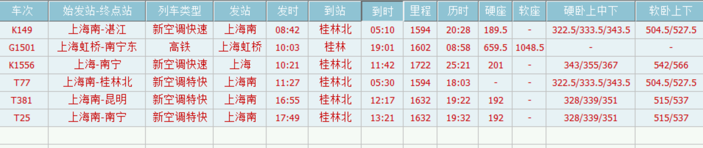 上海到桂林