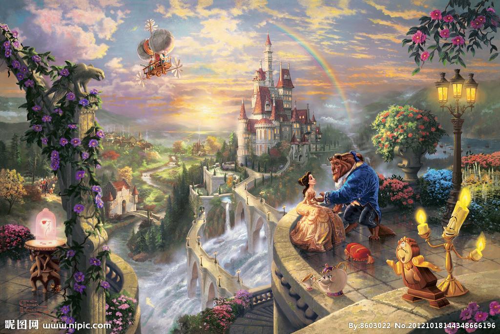 迪士尼美女与野兽求这幅图的高清图越大越好!