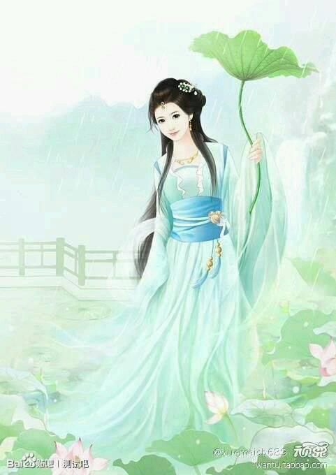 求古装绿衣服的女子图