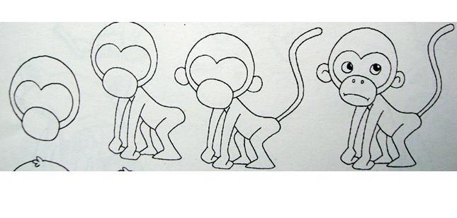 卡通小猴子简笔画