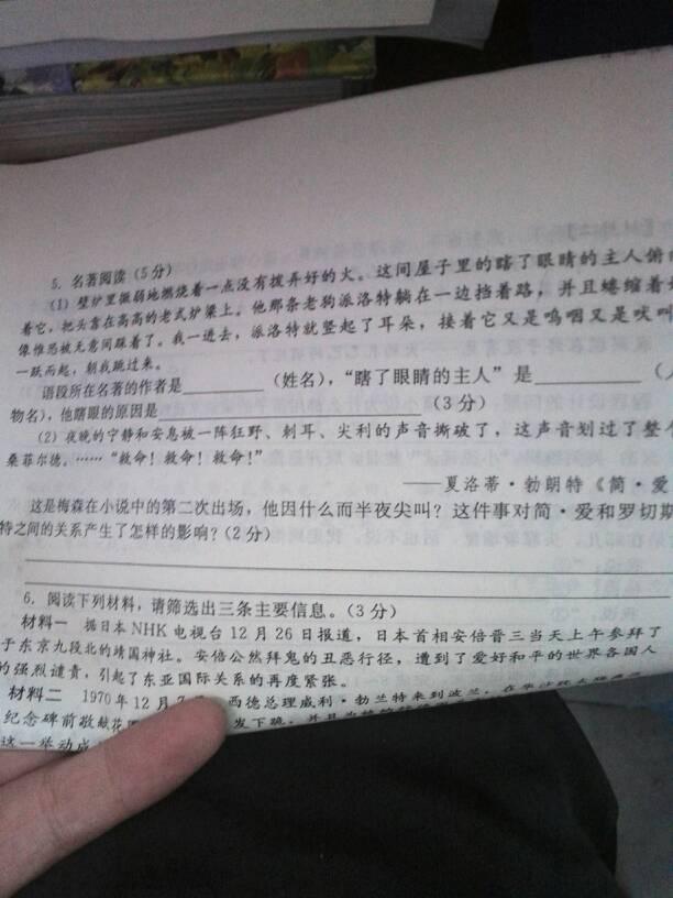 初三语文名著阅读求答案图片