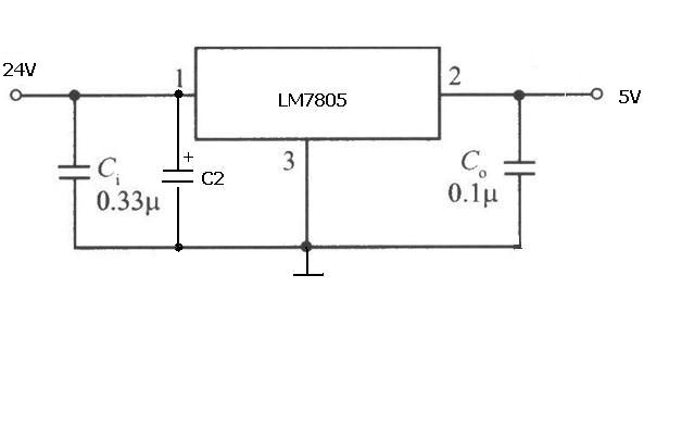使用7805使24v电压转换成5v电压电路图图片