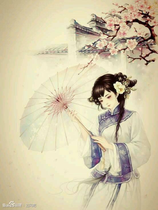 求古装动漫美女图片 要拿伞的越多越多