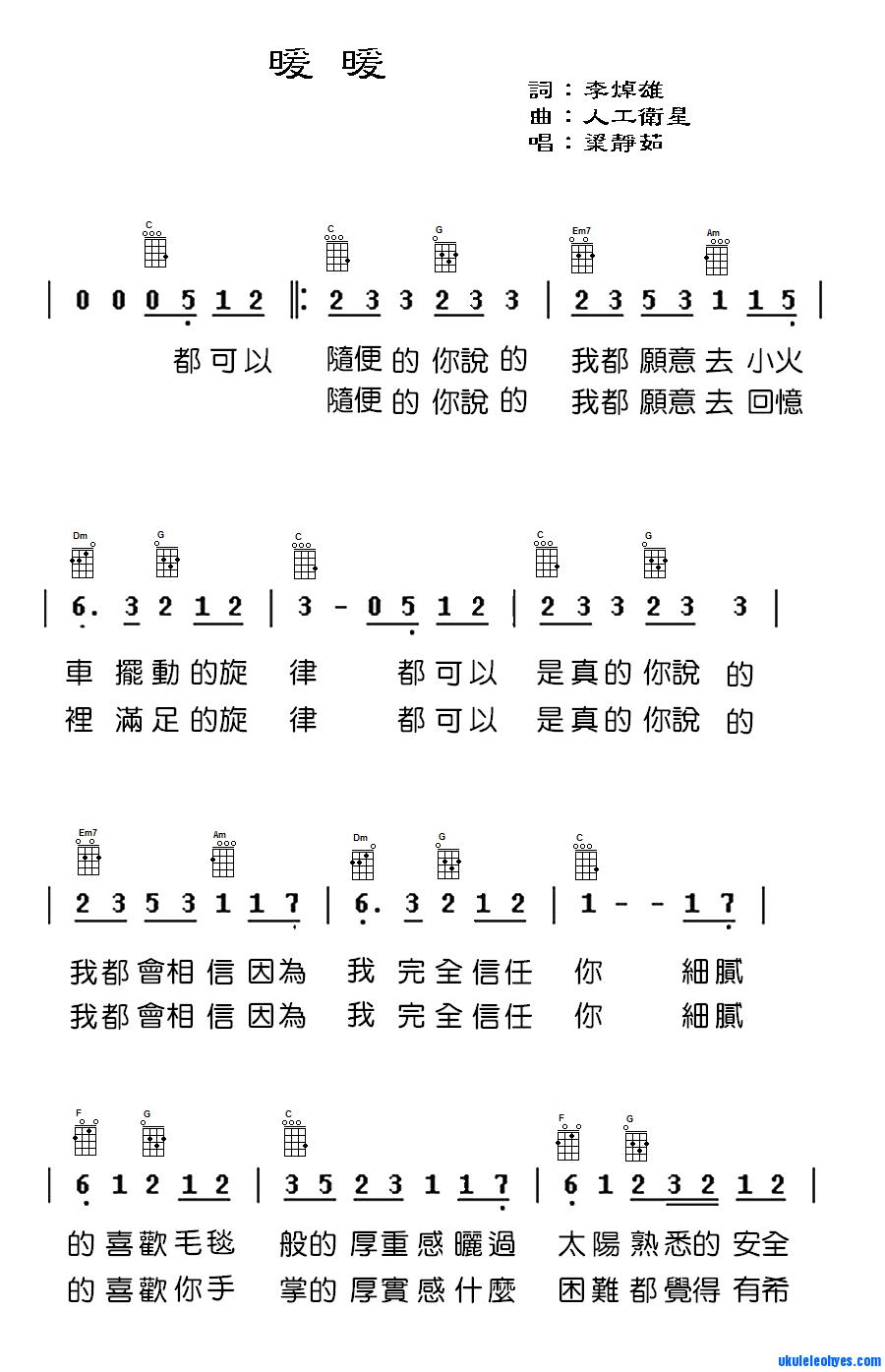 像这种ukulele谱怎么看?图片