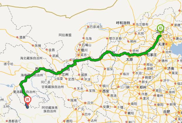 北京到色达多少公里